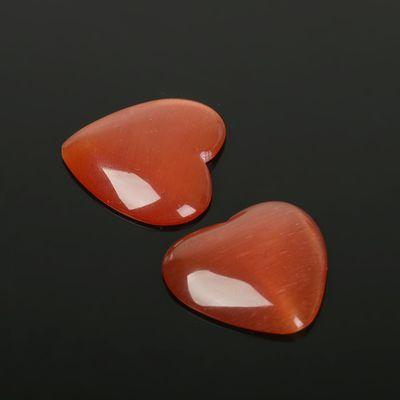 "Кабошон ""Кошачий глаз"" сердце 25*25мм (набор 2шт), цвет красный"