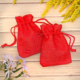 Мешочек подарочный 'Льняной' 7*9, цвет ярко-красный Ош