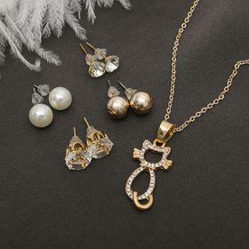 Гарнитур 5 предметов: 4 пары пуссет, кулон 'Кошечка', цвет белый в золоте Ош