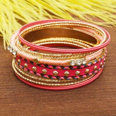 """Браслет-кольца 8 колец """"Плетение"""" радуга, цвет розовый в золоте"""