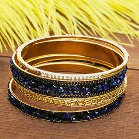 """Браслет-кольца 4 кольца """"Россыпь"""", цвет тёмно-синий в золоте"""