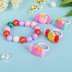 """Набор детский """"Выбражулька"""" 5 пред-тов: 4 кольца,браслет, конфеты, цвет микс"""