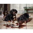 """Арт по дереву """"Два щенка"""", 40 × 50 см"""