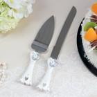 """Набор для торта """"Свадебные кольца"""" из ножа 32см и лопатки 26см ,полистоун"""
