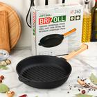 "Сковорода чугунная гриль""Оптима"", BRIZOLL, 26 х 4 см, ручка"