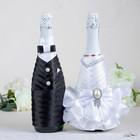"""Украшение на шампанское """"Элит-тубы"""" с бантом, бело-черное"""