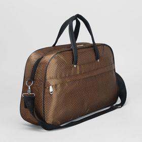 Сумка дорожная на молнии, 1 отдел, наружный карман, длинный ремень, цвет коричневый