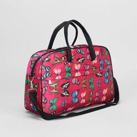 Сумка дорожная на молнии, 1 отдел, наружный карман, длинный ремень, цвет розовый