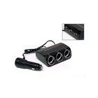 Разветвитель прикуривателя Wine USB & Triple Socket With LED, 3 гнезда, тумблеры, черный
