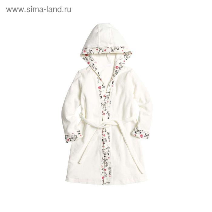 Халат для девочек, рост 110 см, цвет молочный GG3006