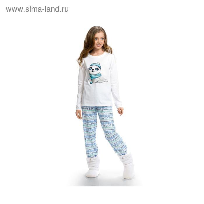 Пижама для девочек, рост 128 см, цвет белоснежный