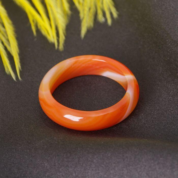 """Кольцо гладкое """"Агат коричневый"""" 6 мм"""