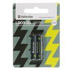 Батарейка Алкалиновая  Defender, AAA, LR03-2BL, блистер, 2 шт.