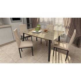 """Обеденная группа """"Идея"""", стол 120x70x75, дуб сонома, 4 стула Слайп кофейный/чёрный"""