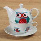 """Набор чайный 3 предмета """"Совунья"""": чайник 420 мл, чашка 240 мл, блюдце"""