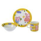 """Набор для завтрака """"Свинка Пеппа. Леденец"""" 3 предмета: кружка 230 мл, тарелка d=19 см, салатник 360 мл"""