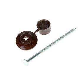 """Гвозди для ондулина """"СТРОЙБАТ"""", 80 мм, с пластиковой шляпкой, коричневые, 100 шт."""