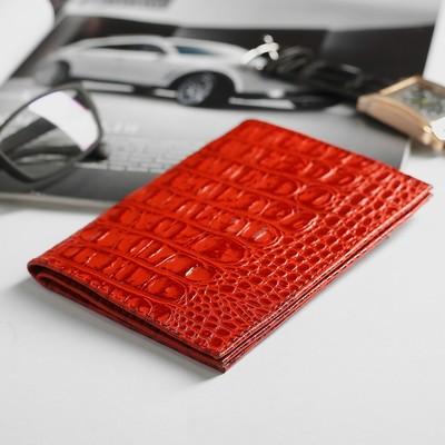 Обложка для автодокументов и паспорта, кайман, цвет красный