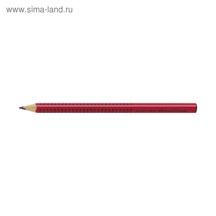 Карандаш ч/г Faber-Castell Jumbo GRIP В трехгран.кор. массаж.шашечки, красный 111921