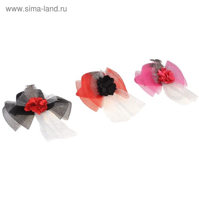 """Карнавальный зажим - шляпка """"Банты и розы"""", цвета МИКС"""
