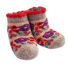 Носки детские шерстяные 3с45 «Цветочки» цвет песочный, р-р 12