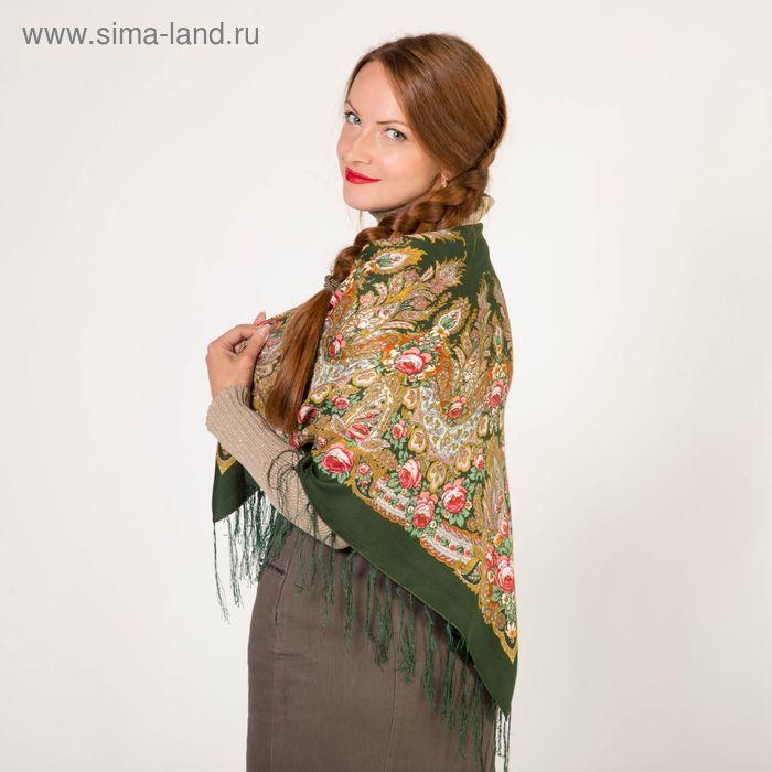 Платок текстильный, размер 90х90, цвет зелёный FC499_30-6