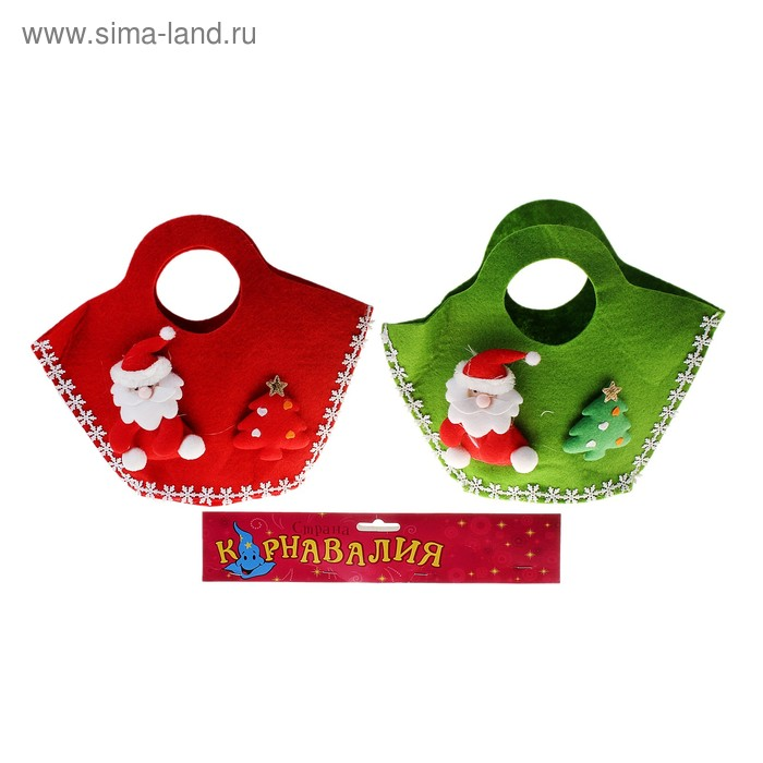 "Мягкая игрушка-сумка ""Дед Мороз"" с елочкой, цвета МИКС"