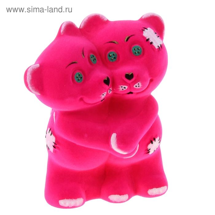 """Копилка """"Обнимающиеся мишки"""" флок, розовая"""