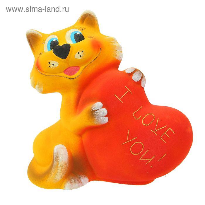 """Копилка """"Кот с сердцем"""" флок, жёлтая"""
