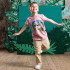 """Футболка для мальчика """"Ленивец в очках"""", рост 110 см, цвет сиреневый 132-006-14"""