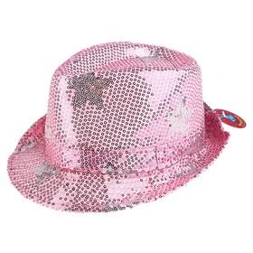 """Шляпа блестящая """"Диджей"""" со звёздами, р-р 56-58, цвет розовый"""