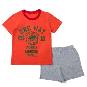 Костюм для мальчика (футболка, шорты), размер 36, рост 134, цвет красный КМ-4