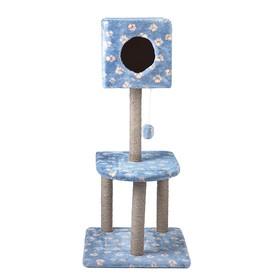 """Домик-когтеточка """"Квадратный"""" с игрушкой, 51 х 51 х 105 см, джут, МИКС"""