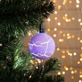 """Игрушка световая """"Елочный шар узоры краской"""" 5 см, 1 LED, RGB, ФИОЛЕТОВЫЙ"""
