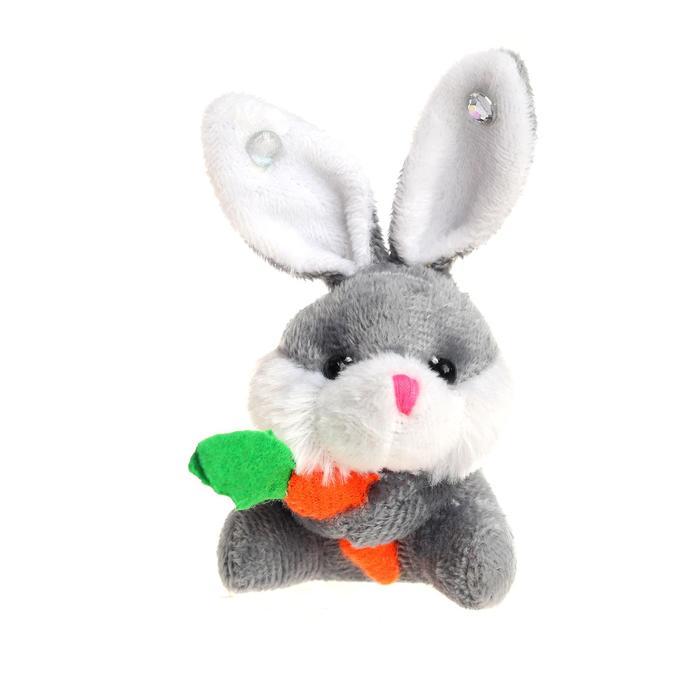 """Мягкая игрушка-брелок """"Заяц с морковкой"""", на ушах стразы, цвета МИКС"""