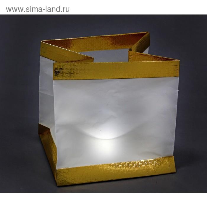 Светящийся пакет квадратный, золотистый, со свечой
