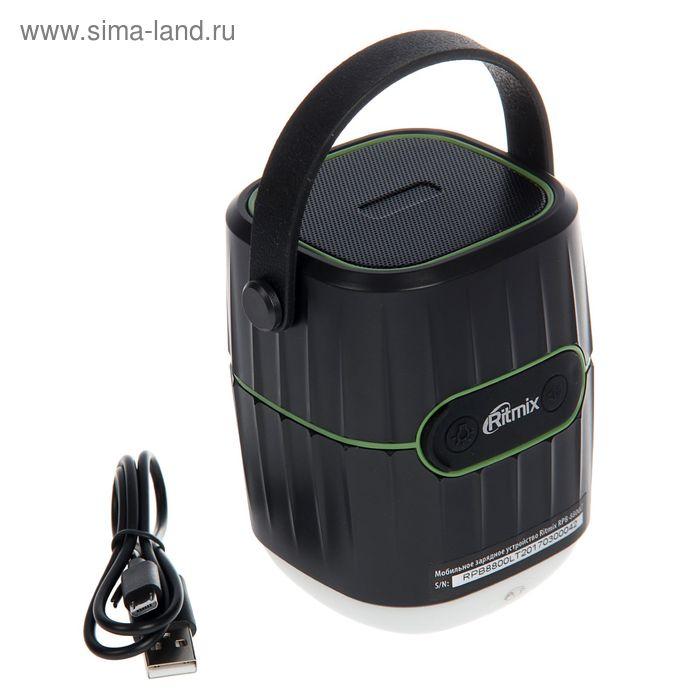 Внешний аккумулятор RITMIX RPB-8800LT, портативная колонка, Bluetooth, фонарь, чёрно-зелёный