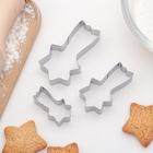 "Набор форм для вырезания печенья 6,5х5,5х1,5 см ""Звездопад"", 3 шт"