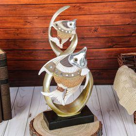 """Сувенир полистоун зеркальные вставки """"2 расписных рыбки в водорослях""""31,5х15х7 см"""