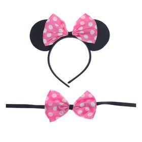 """Карнавальный набор """"Ушки"""" 2 предмета: ободок, бабочка, цвет светло- розовый"""