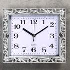 Часы настенные классика, рама серебро, вырезка, прямоугольные, 21*3*18см