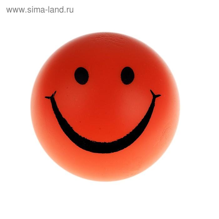 """Мягкий мяч """"Смайл"""", 7 см, цвет оранжевый"""