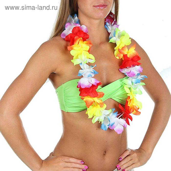 """Ожерелье гавайское """"Цветы"""" блестящее, многоцветное"""