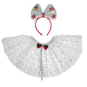 """Карнавальный набор """"Снежинка"""", 2 предмета: ободок, юбка двухслойная, 3-5 лет"""