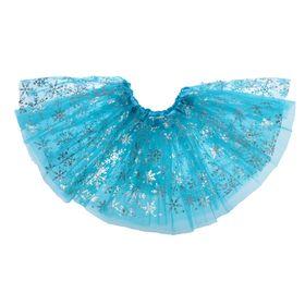 """Карнавальная юбка """"Снежинки"""" трехслойная, цвет голубой"""