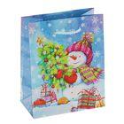 "Пакет подарочный ""Снеговик Джо"", 14.5 х 11.5 х 6.5 см"