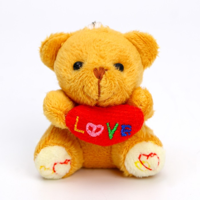 "Мягкая игрушка-подвеска ""Мишка с сердцем"", на лапах вышивка, цвета МИКС"