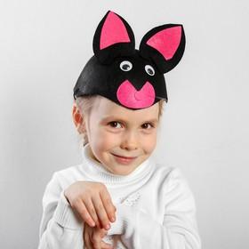 """Карнавальная шляпа """"Чёрная кошка"""" на резинке, р-р 52-54"""