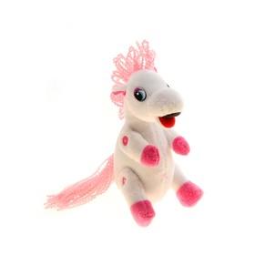 """Мягкая музыкальная игрушка """"Лошадь"""" с бело-розовой гривой в мелкий цветочек"""