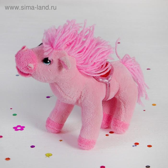 """Мягкая музыкальная игрушка """"Лошадь розовая"""" хвост грива кудрявые"""